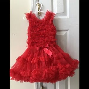 Little Girls Red Tutu Dress (Size 2-3)